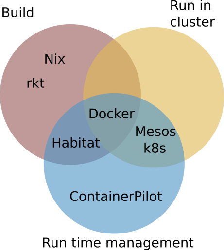 Technologies compared on Build, Clustering, and Runtime Management - venn diagram